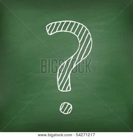 Question mark on green chalkboard.