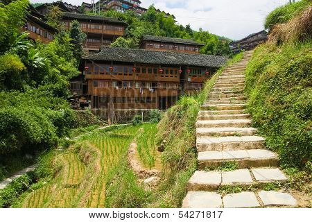 Stone steps in ping'an village at longsheng china poster
