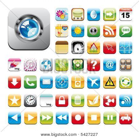 Glossy-Dienstprogramm Icon Set