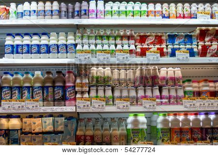 Dairy Products At A Supermarket In Bangkok, Thailand.