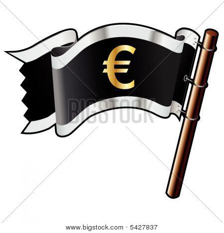 Euro Icon On Pirate Flag