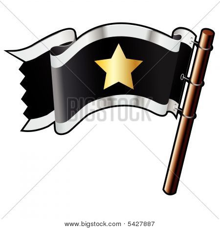 Star Icon On Pirate Flag
