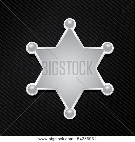 vector silver sheriff star badge on black