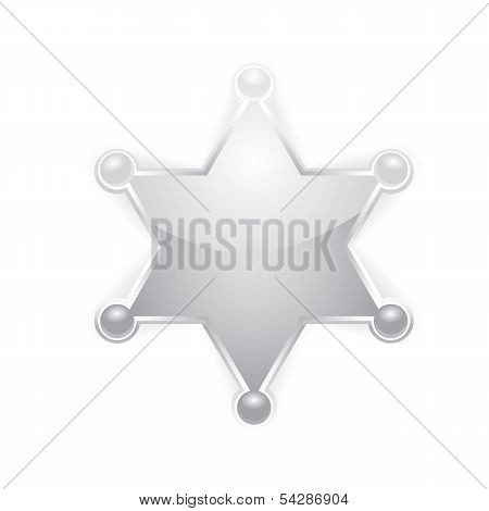 vector silver police star badge . six-pointed star poster