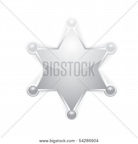 vector silver sheriff star badge on white