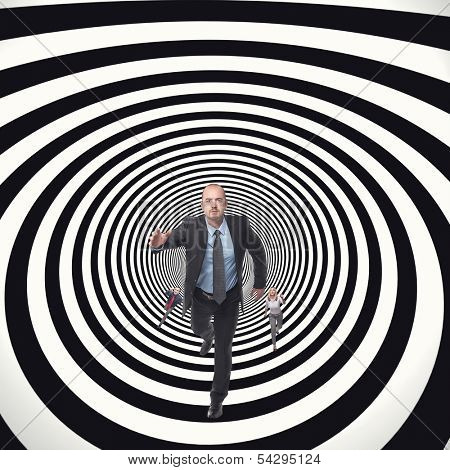 business people running in abstract tunnel