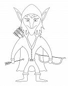 Elf archer standing with bow and arrows and smiling, funny comic cartoon character, contour. Vector poster