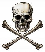 An illustration of a Jolly Roger or poison skull and crossbones sign poster