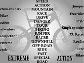 words strictly in conjuction with biking vector image poster