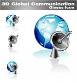 Blue World global communicatins 3D Icon With high contrast colors poster