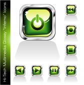 Glossy Green Music Player Icons With high contrast colors poster