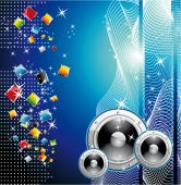 Colorful Techno Dance Futuristic Background with high contrast colors poster