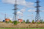 Industrial landscape - General view on the Nuclear Power Plant (NPP) in Yuzhnoukrayinsk Ukraine poster