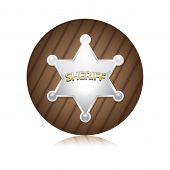 Vector silver Sheriff's badge on a wooden background. poster
