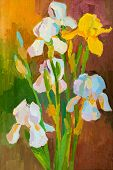 Oil painting on canvas. Bouquet of flowers poster