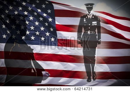 Soldiers Silhouette And An Us National Flag.