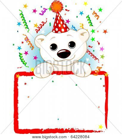 Adorable Polar Bear Cab Wearing A Party Hat, Looking Over A Blank Starry Sign With Colorful Confetti. Raster version.   poster