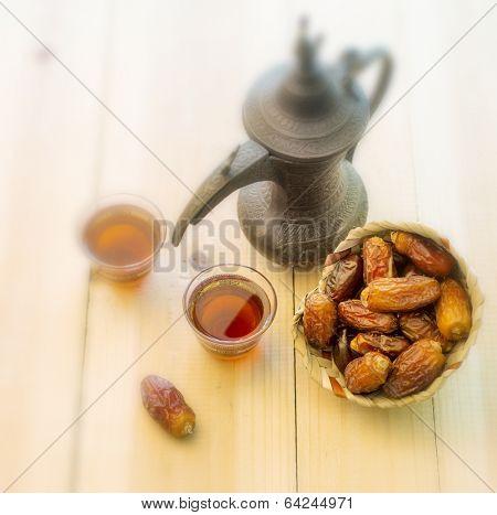 Arabic Tea and dates - vintage effect