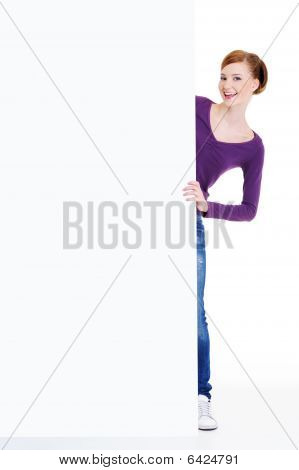 Happy Female Person And Blank Banner