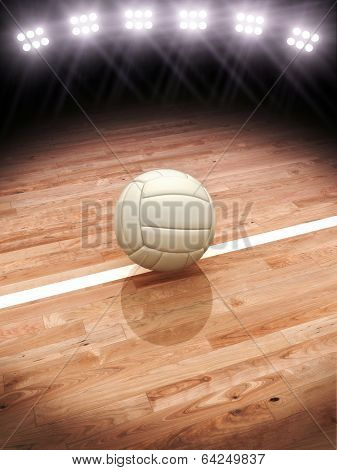 3d rendering of a Volleyball on a court with stadium lighting