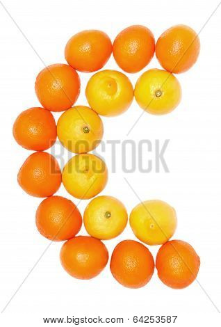 Orange and lemon fruits on a white background