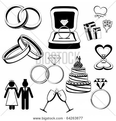 Wedding/engagement vector icons
