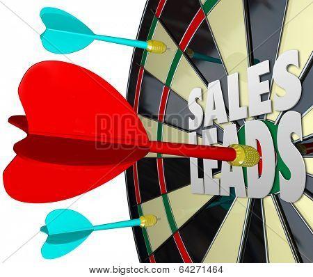 Sales Leads Words Dart Board Selling Customers Prospects