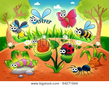 Bugs + 1 snail with background. Funny cartoon and raster illustration.