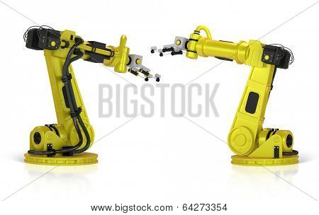 3d yellow welding robot isolated on white