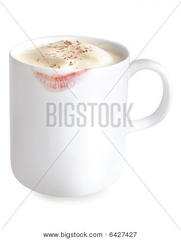 Mug Of Eggnog With Lipstick Stain On It