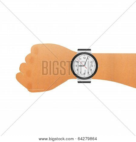 Paper Cut Of Wristwatch On Hand Wrist For Checking To Time In Business