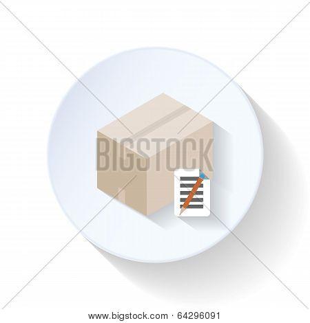 Box with waybill flat icon
