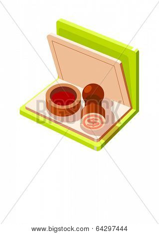 Vector Icon stamp and bankbook