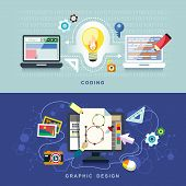 flat design concept of graphic design and coding poster