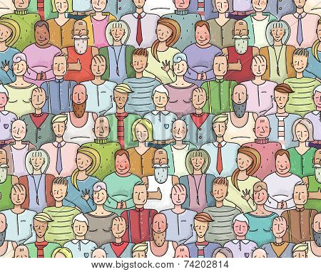 Smiling People Crowd Collective Portrait Seamless Pattern