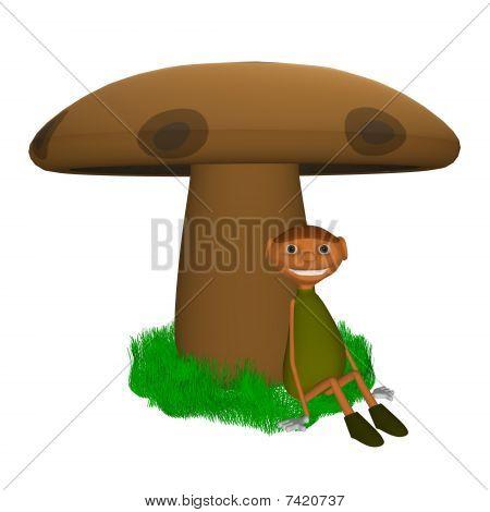 goblin sitting under a mushroom