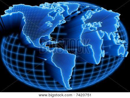 Mapa del mundo iluminado