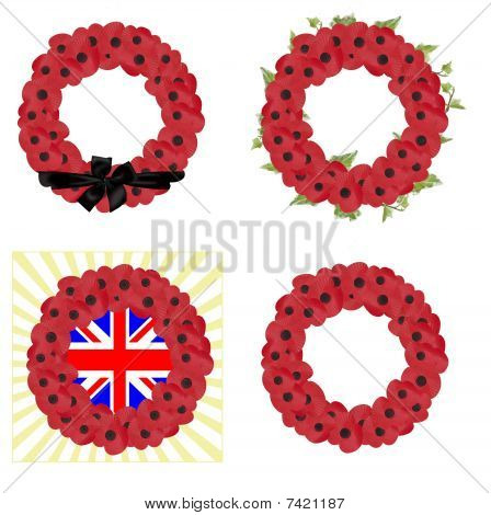 set of 4 remembrance wreaths