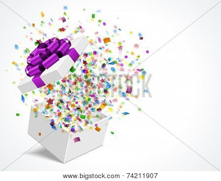 Gift box open and with bow and ribbon vector illustration. Fireworks sparkles and confetti.