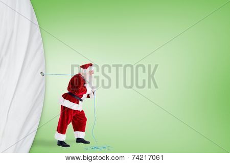 Santa claus pulling rope against green vignette poster
