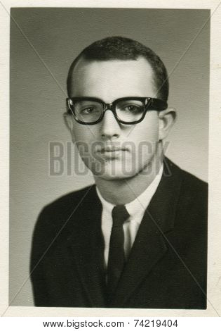 USA- CIRCA 1950s: Vintage photo shows Portrait of a young businessman.