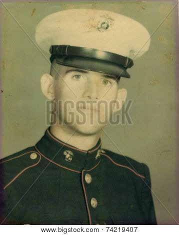 USA- CIRCA 1950s: Vintage photo shows Portrait of US Army soldier.