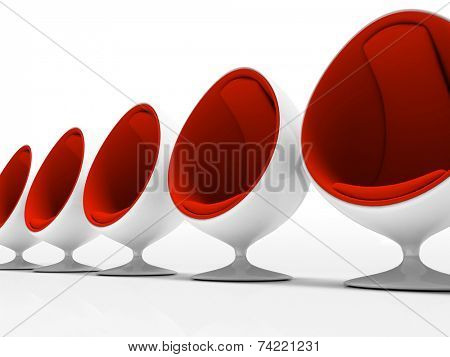 Five red chairs isolated on white background