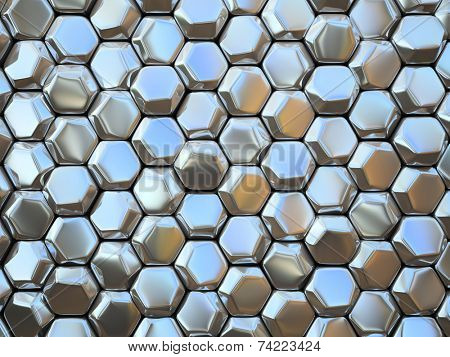 Abstract pattern of hexahedron metal pieces illustration
