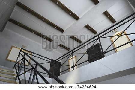 Part 2 of the classical interior, staircase view 3D poster