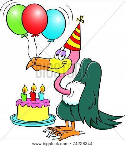 Cartoon buzzard with a birthday cake.