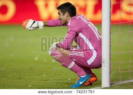 CARSON, CA - OCT 19: Jaime Penedo during the Los Angeles Galaxy MLS game against the Seattle Sounders on October 19th 2014 at the StubHub Center.