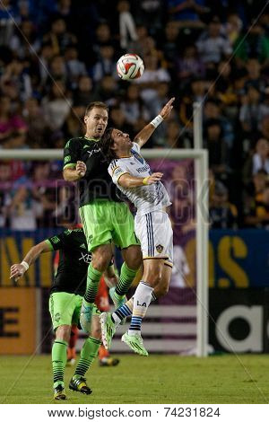 CARSON, CA - OCT 19: Alan Godon & Chad Marshall (L) in action during the Los Angeles Galaxy MLS game against the Seattle Sounders on October 19th 2014 at the StubHub Center.