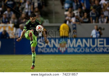 CARSON, CA - OCT 19: Lamar Neagle in action during the Los Angeles Galaxy MLS game against the Seattle Sounders on October 19th 2014 at the StubHub Center.