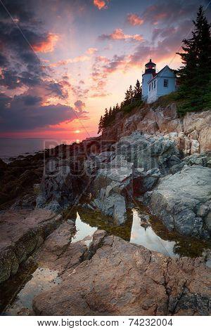 Sunset at Bass Harbor Lighthouse, Mount Desert Island, Maine, USA